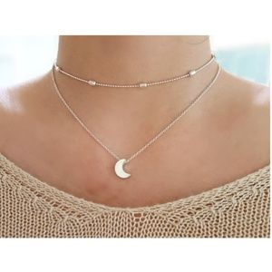 Jewelry - 4 for $20 Layered Moon Choker Necklace (Silver)